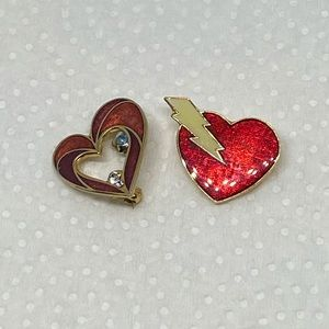 2 Red Heart brooches. Cute enamel pins with gems